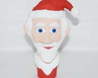 Paper Mache Santa Claus Doll Head