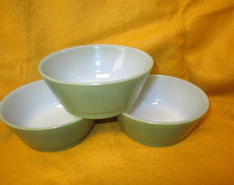 FireKing Green Cereal Bowls - 1960's - set of 3