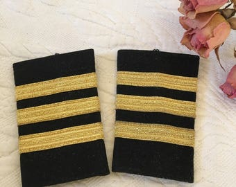 Vintage Co-Pilot Epaulets. 3 Gold Stripes on Black Background, First Officer Epaulets. Corporate Co-Pilot Shirt Shoulder Epaulets.