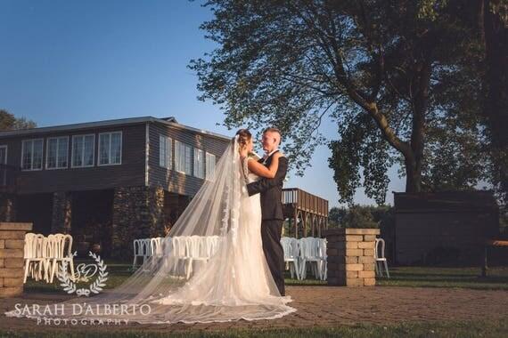 Mantilla Veil with Lace trim | Ivory Lace veil, White Lace veil, Bridal Veil Lace, Wedding Veil, Traditional Veil, Classical Lace veil