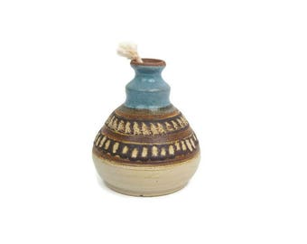Vintage Hand Thrown Pottery Oil Lamp with Wick Brown and Blue Earthenware Hand Painted Stoneware Etched Design Patio Decor Artist Signed
