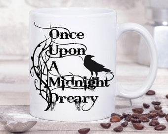 "Edgar Allan Poe Book Mug, The Raven, ""Once upon a midnight dreary"",  Literary Quote, Book Mug, UK"