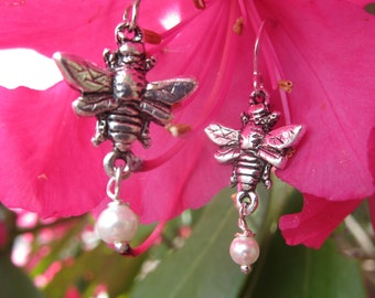 Bumble Bee with Pearl Drop Earrings in Sterling Silver- Bee, Honey Bee, and Garden Gifts and Jewelry