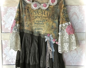 Vintage Cycling Paris Street Collage Top Rag Roses Lace n Ruffle