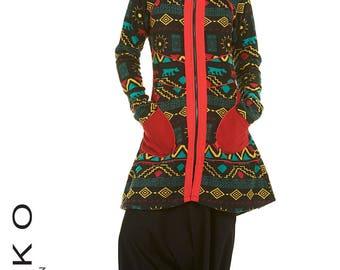 AZTEC PRINT COAT, psytrance jacket, winter coat, pixie jacket, ethnic coat, fairy jacket, elf jacket, fairy top, elf top, woodland FCCOPr