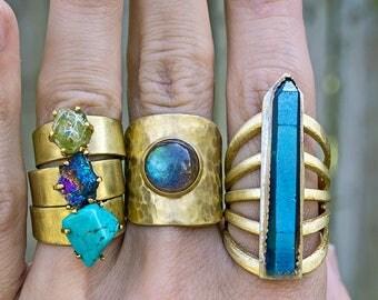 RAW GEODE RING - Wide Band - Turquoise, Peridot, Apatite, Garnet, Tigers Eye, Quartz Ring