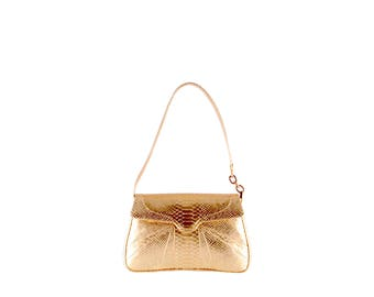 Leather shoulder bag GERDA hobo GINA // gold (Italian calf skin) - FREE shipping, unique