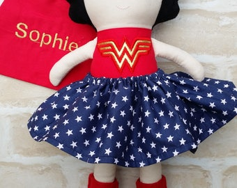 Personalised Superhero Girl  Doll Handmade - Softie First Birthday Cloth Rag Doll - Child Friendly- Made to order- dolly dress up