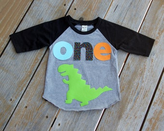 Dinosaur First Birthday Shirt, Boy First Birthday Shirt, Birthday Baseball Tee, First Birthday Shirt