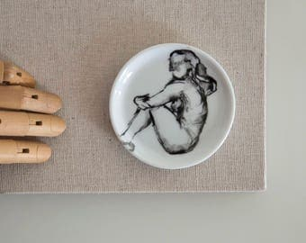 Coaster female nude hand painted painting, nude art, female black white art, modern painting, gift, small dish, for her, original painting
