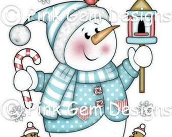 Digi Stamp  'Chilly with Bird House' Snowman. Christmas