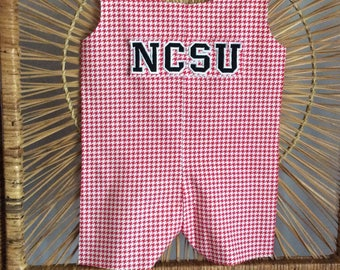 WOLFPACK JON JON...your little wolf will be ready to show his N.C. State spirit in this red houndstooth traditional Jon Jon