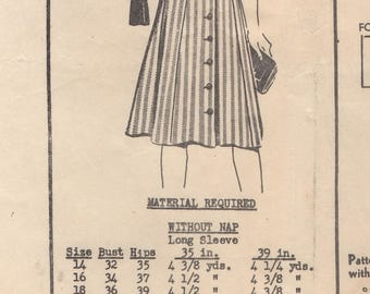 """1940's Mail Order Shirt Waist Dress with Double Pockets - Bust 40"""" - No. 1881"""