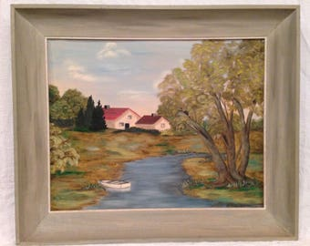 Vintage Oil Painting Country Landscape w/ House & Stream