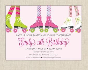 Roller Skating Invitation | Roller Skating Party, Skating Invitation,Roller Skate Party,Girls Birthday,Skating Party, Girls Birthday Party
