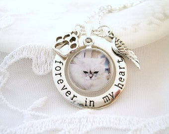 Photo Memory Necklace Forever in My Heart Charm Loss of Pet Sympathy Gift Jewelry Dog Memory Charm Cat Loss Photo Charm Necklace Pet Memory