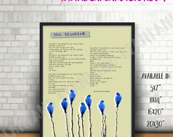 Charles Bukowski Poster -  There's a BLUEBIRD in my HEART - Bukowski poem - Various sizes print