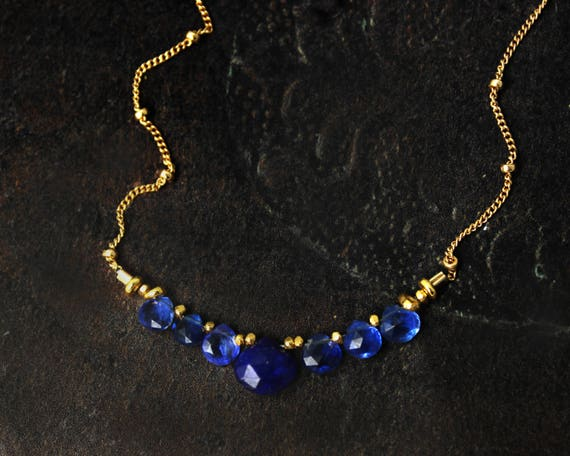 Lapis Lazuli and Kyanite Necklace. Navy Blue Bridesmaid Gifts. Briolette Bar Necklaces. Multi Gemstone Necklaces.  N2410