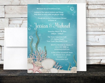 Under the Sea Honeymoon Shower Invitations - Whimsical Underwater design - Aquarium - Aqua Blue and Beige Sand - Printed Invitations