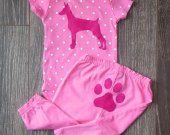 Pick your DOG!  Pink polka-dot baby girl 2-piece set.  Onsie with dog breed of your choice plus Pants with paw print.