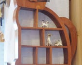 Vintage Cat Rack made of wood  comes with Siamese mom and twin kittens. RESERVED FOR CHRISTINE