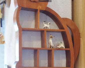 Vintage Cat Rack made of wood with 7 small square shelves  for your ceramic mini's comes with Siamese mom and twin kittens.