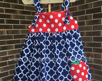 Navy Blue Quartefoil Knot Dress, Back to School Dress, First Day of School Dress