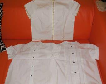 SALE Lot of 3 Vintage Girls Blouse 1950s 60s White Blouses Cotton Nylon Ruffles Trim German size 128 Rockabilly Kids a few small marks