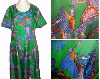Vintage Minidress 1960s Mod Thin Silky Dress Amazing Colorful Psychedelic Print Purple Green Orange Boho Dress Must See! M chest to 37 in