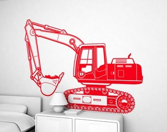 Wall Stickers for Kids Room - Excavator Truck - Large Wall Decals for Boys Room