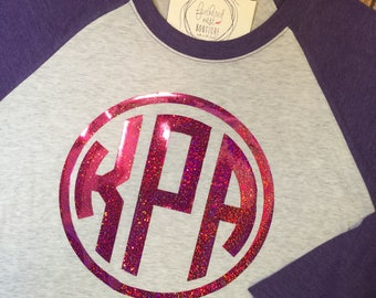 Monogram Raglan Shirt - Monogrammed Raglan Tee - Large Monogram Baseball Tshirt - Your choice of color Monogram Raglan Shirt