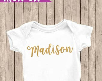Name Iron On, Custom Name Iron On, Glitter Gold Iron On Decal,