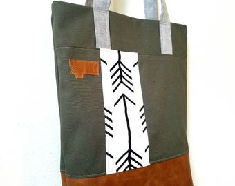 Arrow tote/Canvas tote/White with black arrows/Montana patch/Army green/Mid size tote, between a purse and a standard tote/Made to order