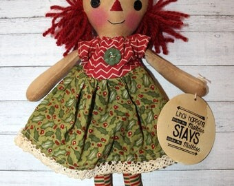 Christmas Mistletoe and Holly Annie - Primitive Raggedy Ann Doll