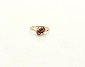 Victorian Yellow Gold Garnet and Diamond Ring, Vintage Garnet Ring, January Birthstone, Birthstone Ring, Vintage Garnet and Diamond Ring