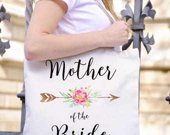Mother of the Bride Tote, BOHO Wedding Tote for Mother of the Bride, MOB Wedding Gift, Mother of the Bride Canvas Tote MOB Wedding Gift TPH5