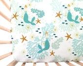 Crib Sheet Caribbean Mermaids. Fitted Crib Sheet. Baby Bedding. Crib Bedding. Minky Crib Sheet. Mermaid Baby Bedding. Mermaid Crib Sheet.