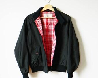 Black Vintage Members Only Jacket / Retro Windbreaker Line in Red Plaid / Vintage Fall Jacket Unisex Lined
