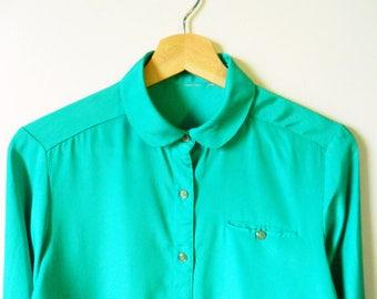 Vintage Jade Green Silk Blouse / Peter Pan Collar Teal Green Blouse / Shimmery Button Up Silk Blouse