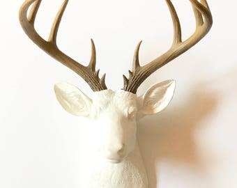 XL Faux Taxidermy Deer Head wall mount wall hanging in WHITE with natural-looking antlers // nursery decor // office wall decor //