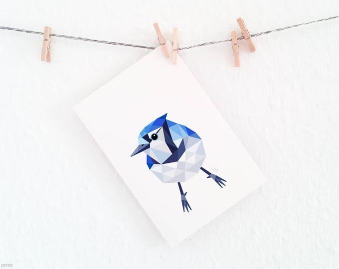 Blue jay print, 8x10, Blue jay art, Geometric blue jay, American bird art, Toronto blue jay, John James Audubon, American wildlife art, Blue