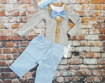Newborn Baby Boy Coming Home Outfit Set. Cardigan Bodysuit, Bow Tie Bodysuit, Baby Blue Pants & Newsboy Hat. Baby Shower Gift. Gender Reveal