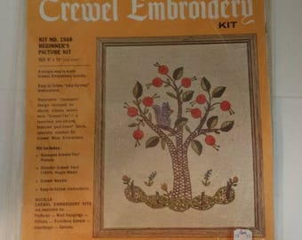 Vintage Bucilla Beginner's Crewel Embroidery Kit -- Tree and Squirrels, 9 by 11 inches, in Original Package