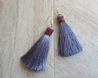 """Beaded Tassel Earrings Gray Statement Tassel Earrings Silver Silk Tassle Earrings Handcrafted Beadwork 4"""" Tassel Earrings Long Earrings"""