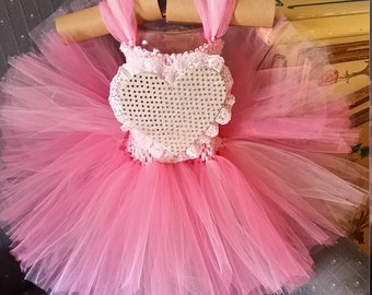 Valentine's Pink and Gold Heart Costume Flower Girl Party Tutu Dress