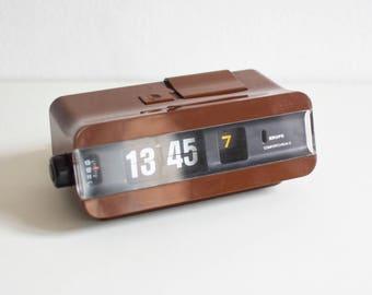 Vintage Krups flip clock, orange flip clock, type 625, alarm clock, West German clock, space age, atomic age, Mid-Century 60s 70s