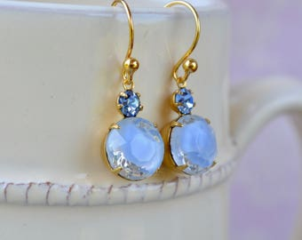 Pale Blue Earrings, Blue Givre Vintage Rhinestone Earrings, Marbled Bead Earrings, Glass Jewelry, Blue Bridal Earrings, Blue Gifts for Bride