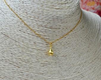 Gold Teardrop Necklace, Delicate Necklace, Brushed Gold Necklace, Wife Gift, Gold Bridesmaid Necklace, 18k Gold Vermeil, Tiny Gold Necklace