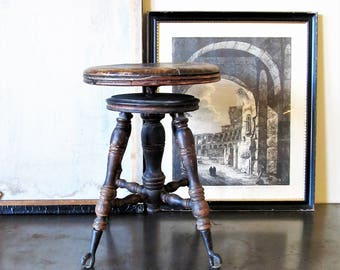 Adjustable Vintage Piano Stool, Swivel Claw And Ball Feet Piano Stool.
