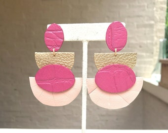 Gold and Pink Leather Statement Earrings